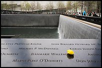 Names incribed on bronze parapets, waterfalls, National September 11 Memorial. NYC, New York, USA ( color)
