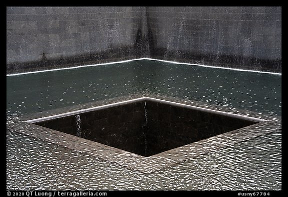 Pools representing footprint of tower, 9/11 Memorial. NYC, New York, USA (color)