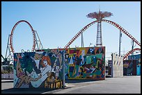 Murals and roller coaster, Coney Island. New York, USA ( color)