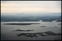 Aerial view of Jamaica Bay, Brooklyn, and Manhatta skyline. NYC, New York, USA ( color)