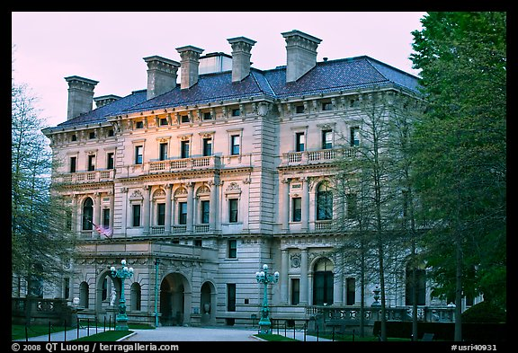 Breakers mansion, largest in Newport, at dusk. Newport, Rhode Island, USA