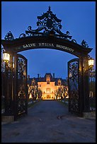 Entrance gate and Salve Regina University at night. Newport, Rhode Island, USA
