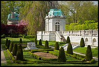 Pavilions and formal garden, The Elms. Newport, Rhode Island, USA (color)