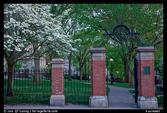 Entrance to grounds of Brown University in the spring. Providence, Rhode Island, USA