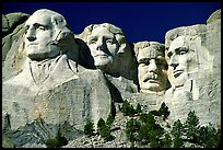 Faces of Four US Presidents carved in cliff, Mt Rushmore National Memorial. South Dakota, USA (color)