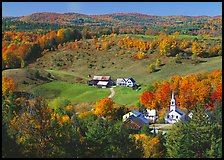 Church and farm in fall, East Corinth. Vermont, New England, USA