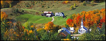 Rural landscape with village and fall colors, East Corithn. Vermont, New England, USA (Panoramic color)