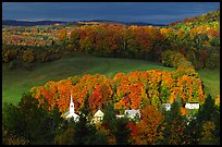 Church and houses in fall, East Corinth. Vermont, New England, USA