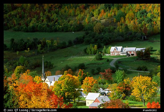East Orange village in autumn. Vermont, New England, USA (color)