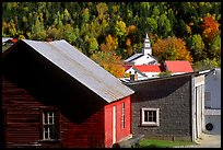 Red barn and East Topsham village in fall. Vermont, New England, USA (color)