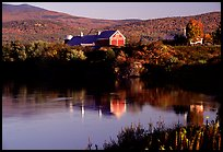 Red barns reflected in Line Pond near Pomfret. Vermont, New England, USA ( color)