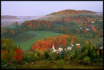 East Corinth village in fall, morning. Vermont, New England, USA