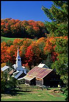 Church and barn,  East Corinth. Vermont, New England, USA
