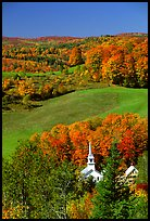 Church of East Corinth among trees in autumn color. Vermont, New England, USA (color)