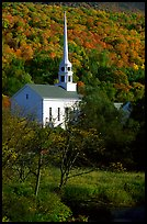 White steepled church in Stowe. Vermont, New England, USA