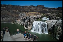 Tourists at overlook, Shoshone Falls. Idaho, USA ( color)