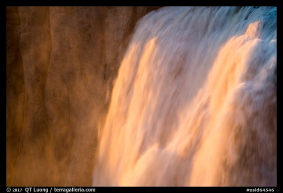 Detail of Shoshone Falls at sunset. Idaho, USA (color)