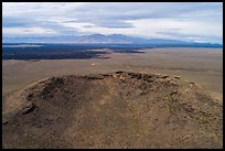 Aerial view of Big Blowout Butte vent area of shield volcano. Craters of the Moon National Monument and Preserve, Idaho, USA ( color)