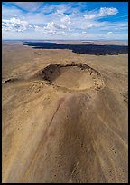 Aerial view of Bear Den Butte cinder cone. Craters of the Moon National Monument and Preserve, Idaho, USA ( color)