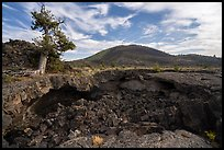 Buffalo Cave collpased roof and and Big Cinder Butte. Craters of the Moon National Monument and Preserve, Idaho, USA ( )