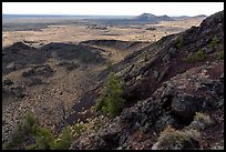 Echo Crater with Watchman cinder cone in the distance. Craters of the Moon National Monument and Preserve, Idaho, USA ( )