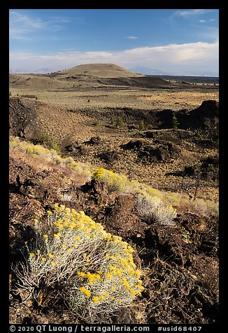 Sagebrush in bloom and Crescent Butte from Echo Crater. Craters of the Moon National Monument and Preserve, Idaho, USA (color)