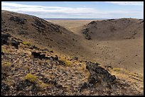 Bear Den Butte with breach in crater. Craters of the Moon National Monument and Preserve, Idaho, USA ( color)