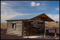 Last remaining trapper cabin, South Park Well. Craters of the Moon National Monument and Preserve, Idaho, USA ( color)
