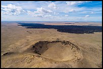 Aerial view of Bear Den Butte and Grassy Lava Flow. Craters of the Moon National Monument and Preserve, Idaho, USA ( )