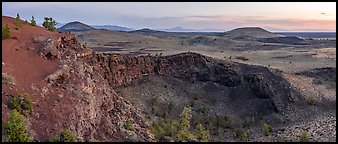 Echo Crater at dawn. Craters of the Moon National Monument and Preserve, Idaho, USA (Panoramic color)