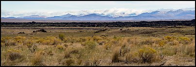 Laidlaw kapuka and Pioneer Mountains. Craters of the Moon National Monument and Preserve, Idaho, USA (Panoramic color)