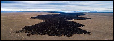 Aerial view of Grassy Lava Flow and Laidlaw kapuka. Craters of the Moon National Monument and Preserve, Idaho, USA (Panoramic )