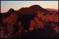 Lava and cinder cones, sunrise, Craters of the Moon National Monument. Idaho, USA ( color)