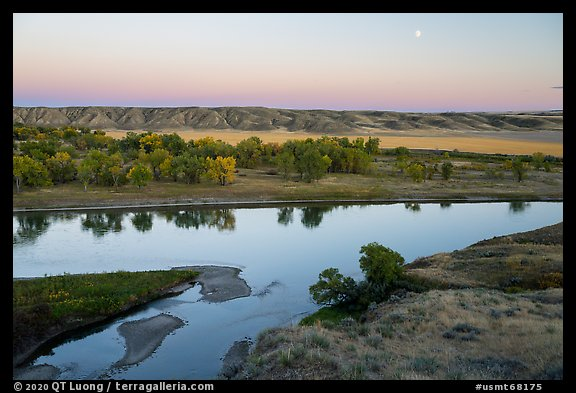Moon rising above Missouri River, Decision Point. Upper Missouri River Breaks National Monument, Montana, USA (color)