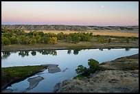 Moon rising above Missouri River, Decision Point. Upper Missouri River Breaks National Monument, Montana, USA ( color)