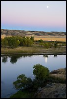 Moon reflected in Missouri River, Decision Point. Upper Missouri River Breaks National Monument, Montana, USA ( color)