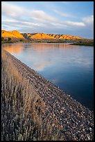 River shore at sunrise, Wood Bottom. Upper Missouri River Breaks National Monument, Montana, USA ( )