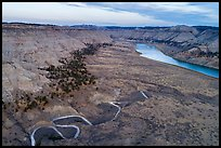 Aerial view of creek meanders and Missouri River valley. Upper Missouri River Breaks National Monument, Montana, USA ( color)