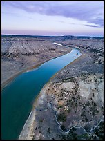 Aerial view of badlands and Missouri River. Upper Missouri River Breaks National Monument, Montana, USA ( color)