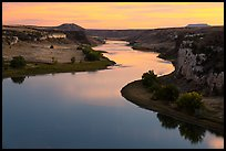 Missouri River from above at sunset. Upper Missouri River Breaks National Monument, Montana, USA ( color)