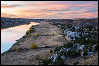 Sandstone cliffs and river from above at sunset. Upper Missouri River Breaks National Monument, Montana, USA ( color)