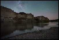 White cliffs with starry sky at night. Upper Missouri River Breaks National Monument, Montana, USA ( color)