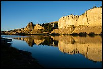 LaBarge Rock and white cliffs at sunrise. Upper Missouri River Breaks National Monument, Montana, USA ( color)
