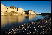 Sandstone white cliffs reflected in river. Upper Missouri River Breaks National Monument, Montana, USA ( color)