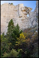 Sandstone wall with hole, Neat Coulee. Upper Missouri River Breaks National Monument, Montana, USA ( color)