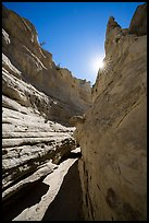 Neat Coulee slot canyon with sun star. Upper Missouri River Breaks National Monument, Montana, USA ( color)