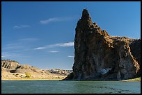 Dark igneous plug at the edge of river. Upper Missouri River Breaks National Monument, Montana, USA ( color)