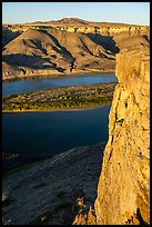 Free-standing slab of rock high above river. Upper Missouri River Breaks National Monument, Montana, USA ( color)