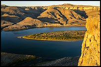Hole-in-the-Wall cliff at sunset. Upper Missouri River Breaks National Monument, Montana, USA ( color)