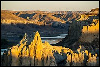 Pinnacles from Hole-in-the-Wall at sunset. Upper Missouri River Breaks National Monument, Montana, USA ( color)